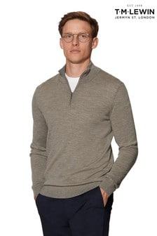 T.M. Lewin Bedford Merino Wool Neutral Half-Zip Slim Fit Jumper