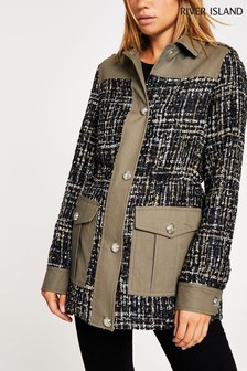 River Island Khaki Bouclé Mix Army Jacket