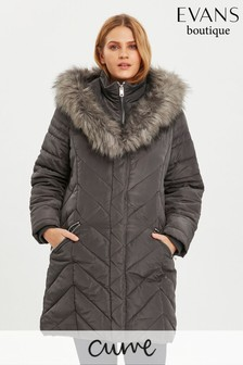 Evans Curve Grey Faux Fur Trim Double Layer Coat