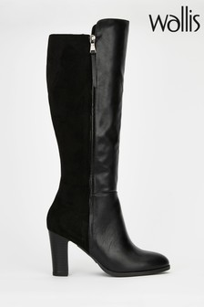 Wallis Harbour Black Mix Material High Leg Boots
