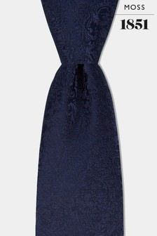 Moss 1851 Navy Floral Swirl Tie
