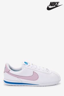 Nike White/Pink Cortez Leather Trainers