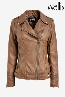 Wallis Tan Faux Leather Biker Jacket