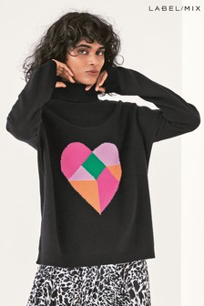 Next/Mix Heart Motif Roll Neck Jumper