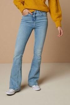 New Womens Blue Crop Flare NEXT Jeans Size 14 12 10 Regular Petite