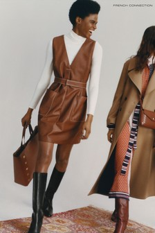 French Connection Brown Abri Leather V -Neck Dress