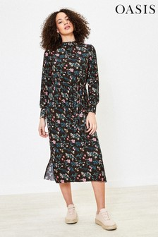 Oasis Multi Black Floral Pleated Midi Dress