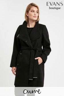 Evans Curve Black Tie Front Coat