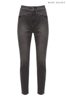Mint Velvet Ohio Washed Black Zip Jeggings