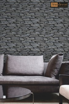 Distinctive Slate Sidewall Wallpaper by Fine Décor
