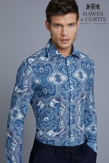 Hawes & Curtis Blue Paisley Slim Fit Shirt
