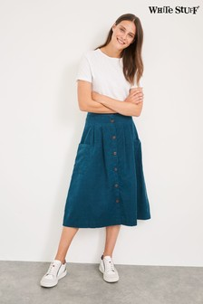 White Stuff Teal Margarita Spot Cord Midi Skirt