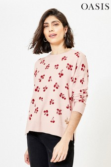 Oasis Pink Cherry Print Knit Jumper