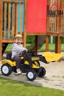 Kids Ride-On Excavator With Steering Wheel By HOMCOM