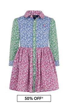 Girls Pink Floral Cotton Shirt Dress