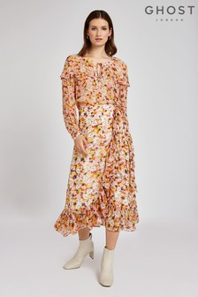 Ghost London Orange Abella Retro Print Georgette Skirt