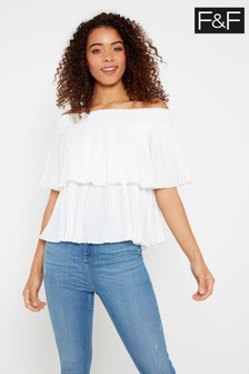 F&F White Pleat Bardot Blouse