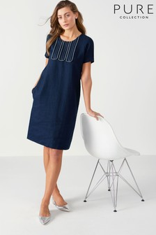 Pure Collection Blue Linen Contrast Stitch Dress