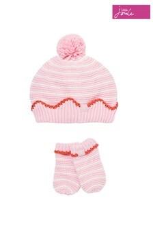 Joules Pink Crown Hat Set