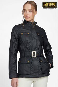 Barbour® International Black Coated Linen Mix Bearings Jacket