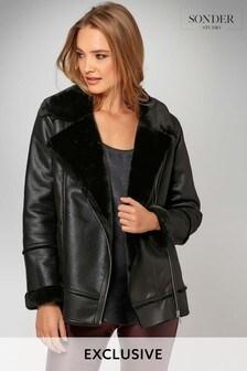Sonder Black Shearling Aviator Jacket