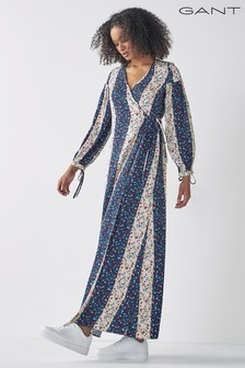 GANT Classic Blue Gant Liberation Flower Wrap Maxi Dress