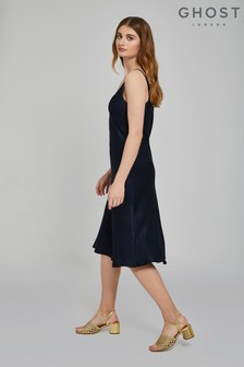 Ghost London Navy Blue Sherry Satin Slip Dress