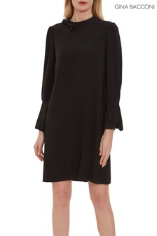 Gina Bacconi Black Kat Crepe Bow Dress