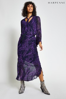 Harpenne Purple Animal Print Midi Skirt