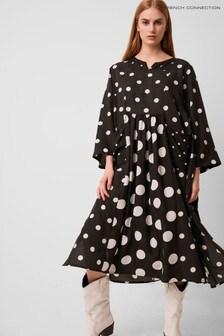 French Connection Black Alanga Dotty Smock Dress