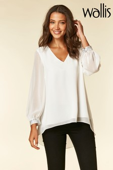 Wallis Cream Ivory Embelished Cuff Shirt