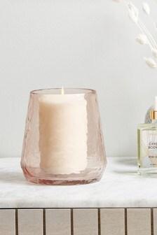 Pink Glass Hurricane Vase