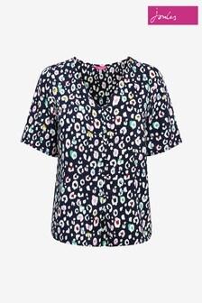 Joules Black Georgie Short Sleeve V-Neck Button Through Shirt