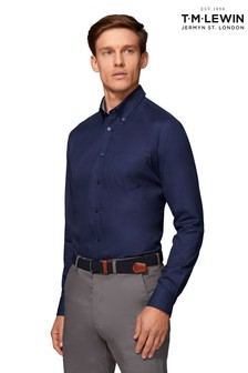 T.M. Lewin Royal Oxford Slim Fit Navy Shirt