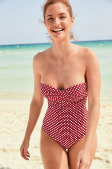 Spot Twist Bandeau Swimsuit