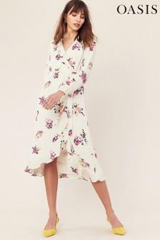 Oasis Natural Garden Chiffon Midi Dress