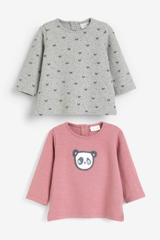 2 Pack Panda Heavy Jersey Tops (0mths-2yrs)