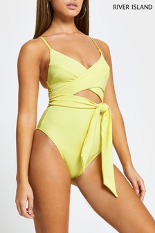 River Island Yellow Light Wrap Front Tie Swimsuit
