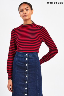 Whistles Fine Stripe Recycled Polyester Knit Jumper