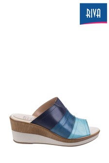 Riva Blue Santo Wedge Mule Sandals