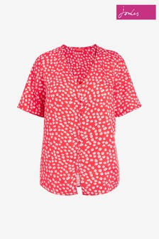 Joules Georgie Short Sleeve V-Neck Button Through Shirt