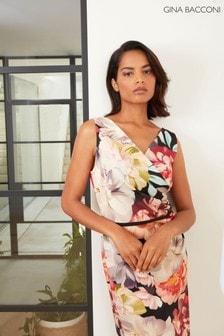 Gina Bacconi Cream Elena Floral Scuba Jersey Dress