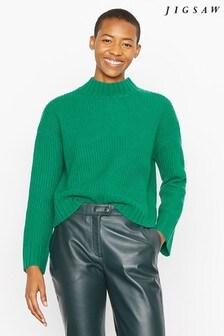 Jigsaw Green Wide Sleeve Rib Jumper
