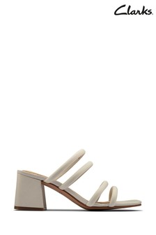 Clarks White Leather Sheer65 Mule Sandals