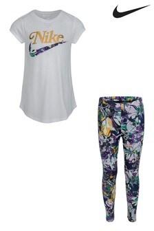 Nike Little Kids White T-Shirt And Femme Floral Leggings Set