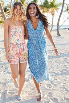 Coral Print Midi Dress