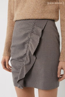 Warehouse Black Check Frill Pelmet Mini Skirt