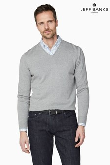 Jeff Banks Grey Men's Knitted V-Neck Sweater