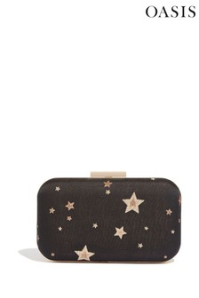 Oasis Jacquard-Box-Clutch mit Sternenmuster, Natur