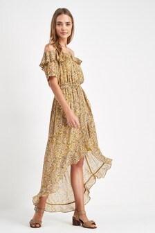 Ditsy Floral Frill Midi Dress